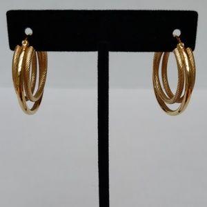 Jewelry - 14k Gold Triple Banded Hoop Earrings